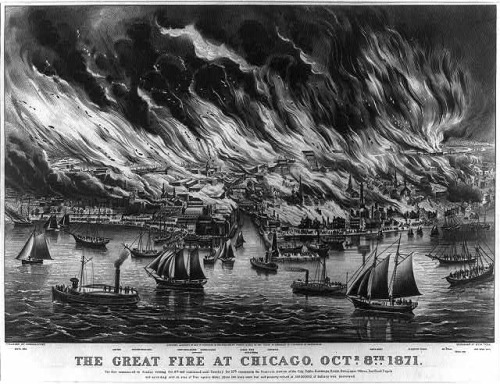 October 8, 1871: The Great Chicago Fire On this day in 1871, a fire broke out in a barn in Chicago, spreading rapidly due to winds from nearby prairies. The fire eventually consumed a four-mile-long and two-third-mile-wide area of Chicago. When the Great Fire was finally extinguished two days later, nearly 300 people were dead, one hundred thousand were homeless and the downtown area was burned to ashes. Fortunately, much of Chicago's essential industrial infrastructure was unharmed, and Chicago quickly regained its status as the economic center of the American West. To learn more about The Great Chicago Fire and its effects on the city, explore Chicago: City of the Century. Photo: Library of Congress