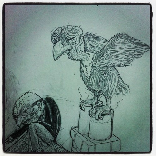 UGLY BIRD AND THE HUDU MAN-graphite on paper (Taken with Instagram at the cave)