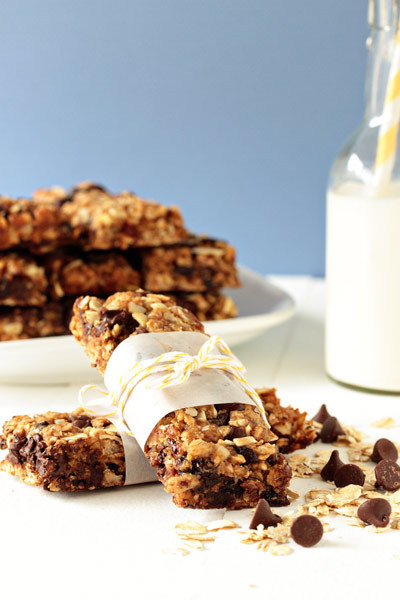 Homemade granola bars with almonds, dried cherries and dark chocolate!