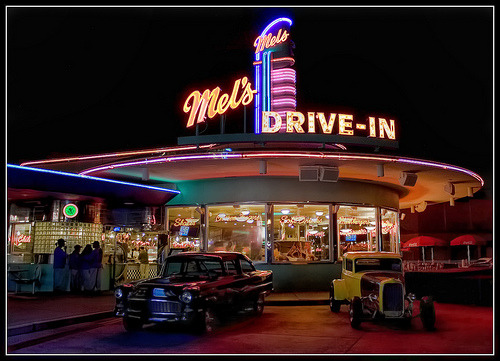 Mel's drive in, as seen in American Graffiti (1973) whilst the cars from the movie are on show.