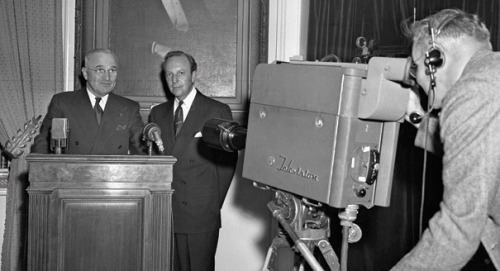 This Day in History: Truman Delivers First Ever Televised Presidential Address On October 5, 1947, President Truman appeared on TV.  Via Politico:  In his speech, Truman called on Americans to conserve food to help hard-pressed Europeans, still recovering from the devastation caused by the war and threatened with a massive winter famine. He asked the agricultural industry and distillers to reduce grain use. He asked Americans to forgo eating meat on Tuesdays and eggs and poultry on Thursdays and to consume one fewer slice of bread every day.  At the time, there were only 44,000 televisions in the States. Radio still ruled, with some 40 million of them in a country of about 144 million people. By 1960 there were 52 million televisions in the country and an estimated 70 million watched Kennedy and Nixon in the first televised presidential debate.  Image: President Truman delivers the first televised presidential address. AP via Politico.