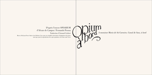 "double page d'introduction du livret ""Opium à bord"""