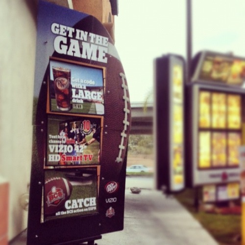 "Get in the Game & Enter to Win a VIZIO TV VIZIO has teamed up with Dr. Pepper and Taco Bell to give away ten 42"" HD Smart TVs a day from Oct. 4 - Nov. 7 to give fans the opportunity to catch all their favorite games during football season. To enter all you have to do is visit your local Taco Bell, get a code with a large drink, and text for your chance to win. Check out all the details here."