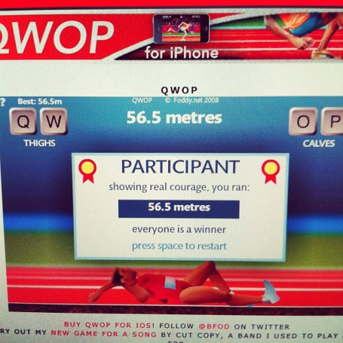 How far do I need to run?! Lol #qwop #funny #meme #olympics (Taken with Instagram at Hogwarts School For Digital Arts)