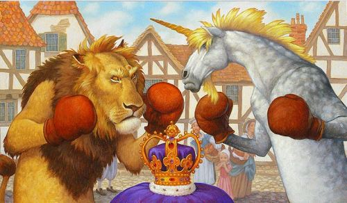 The Lion and the Unicorn were fighting for the crown.