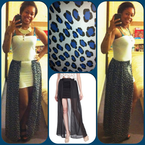Sheer chiffon maxi skirt I just made. It's a blue leopard print material. Can be worn open with a dress as shown or closed. Inspired by the skirt in the middle. I love it. Selling for £10. #instacollage #fabric #fashion #fashiondesign #style #dressmaking #sewing #maxishirt #chiffon #leopardprint #blue #love #selling #girls  #StushCouture 💋💋