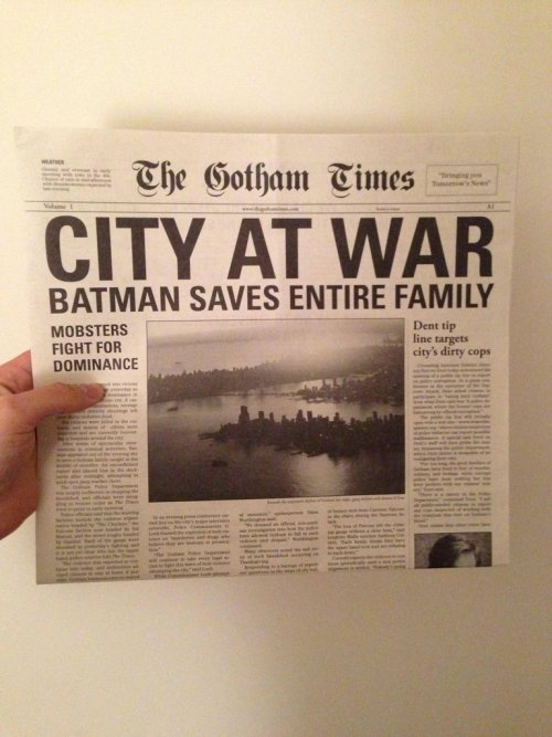 This actual prop newspaper from the set of The Dark Knight is pretty cool, but it's not as funny as these 12 Gotham Newspaper Headlines During The Dark Knight Rises. (image via)