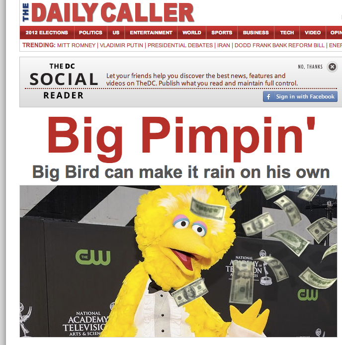 The homepage of the Daily Caller right now.