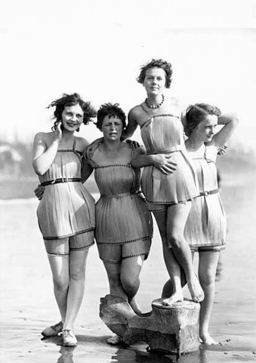 "1929 The ""Spruce Girls"" show off their spruce wood veneer bathing suits during ""Wood Week"" to promote products of the Gray Harbor lumber industry in Hoquiam, Washington. Yes, their bathing suits are made of wood.  (via UW Digital Collections and Retronaut)"
