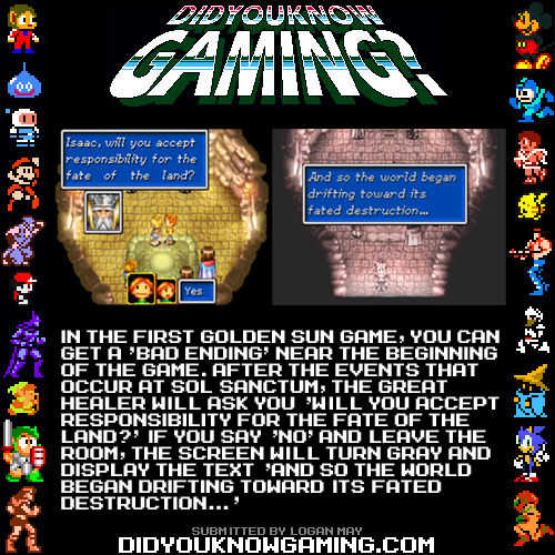 didyouknowgaming:  Golden Sun.  http://www.youtube.com/watch?v=dxRpqYChOZM&t=3m1s