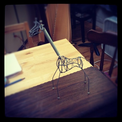 Repaired this giraffe's neck. Incorporating him into a new sculpture.  (Taken with Instagram)