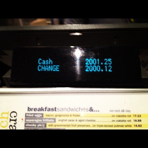 Just overpayed for my coffee by $2000.12…In #cashmoney #fridayblunders (Taken with Instagram at 'wichcraft)