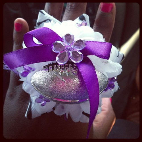 Wildcat mum rings! #homecoming2012 #ahs Angleton Wildcats!!! 💜💜💜💜💜 (Taken with Instagram)