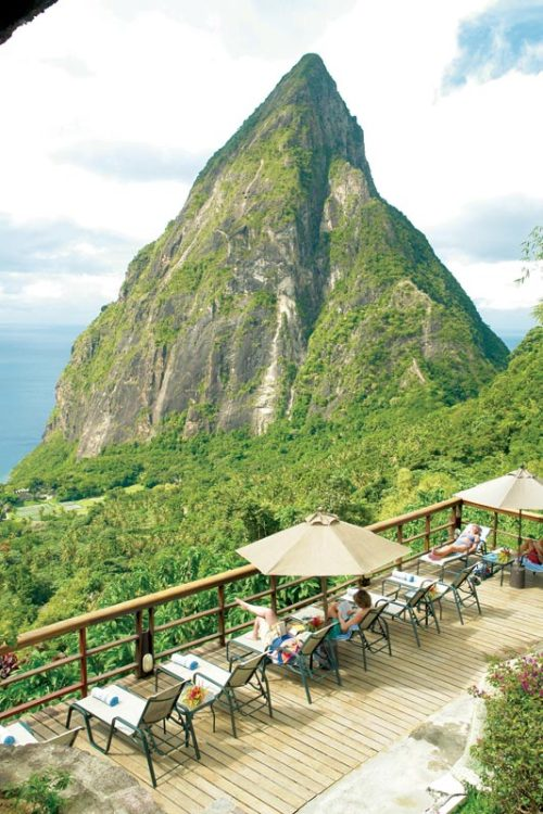 visitheworld:  Enjoying the view from Ladera Resort, St. Lucia.