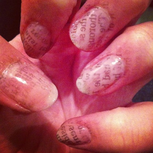 So I did my nails with newsprint (Taken with Instagram)