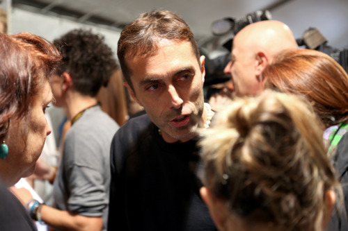 Giambattista Valli sharing secrets backstage. S/S 13, Paris.