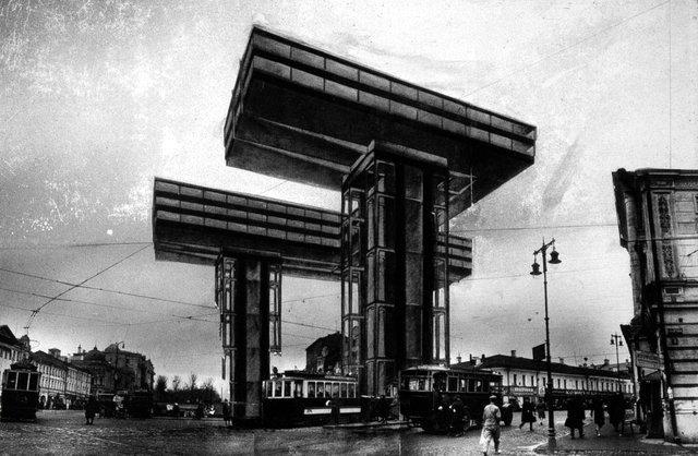 El Lissitzky | Wolkenbügel (iron clouds) | Horizontal Skycrapers | Moscow | 1923-1925 | via