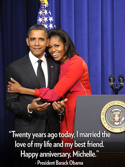 "peoplemag:  Celeb Quote of the Week #3 ""Twenty years ago today, I married the love of my life and my best friend. Happy anniversary, Michelle."" – President Barack Obama, celebrating two decades of wedded bliss with wife Michelle, on Twitter See more star quotes here!"