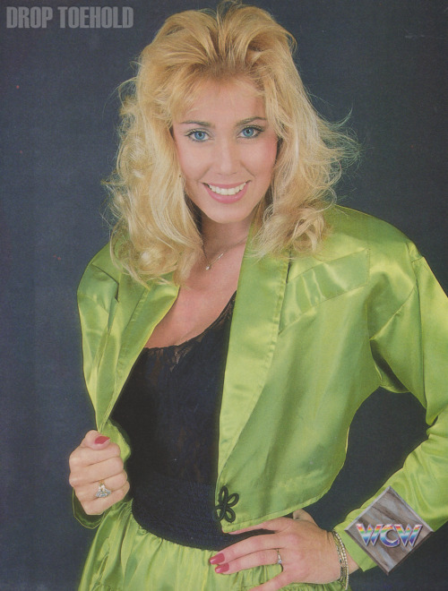 Missy Hyatt - WCW Magazine Collector Series Special #3 [December 1992]  'I am the real First Lady of WCW — so that THAT, Madusa!' Recently voted 'First Lady of WCW' by the readers of WCW Magazine and the viewers of Beach Blast '92, the beautiful Missy Hyatt adds her own special point of view to the sport. Missy has distinguished herself on many Clash of the Champions and pay-per-view cards by daring to place herself close to the action. Sometimes, her journalistic instincts get her in trouble, such as the time she was chased out of Stan Hansen's dressing room at SuperBrawl I, or when she was thrown in a trough of water by Abdullah the Butcher at Clash XVIII. Over the years, she has had her problems with her peers: A lengthy feud with Paul E. Dangerously led to a series of arm wrestling contests (which she won!), and she continues to spar with Madusa over the 'First Lady of WCW' designation. But she has no problem with the fans — male and female — who have made her one of the most popular WCW stars of all!  Just a reminder of how incredibly gorgeous Missy Hyatt was back in the early 90's.