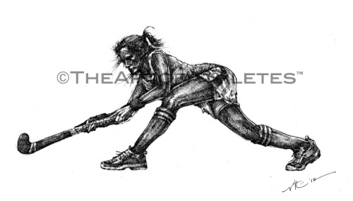 """Get Low"" NEW Field Hockey piece. 8x12 inches.  Pen & ink on heavy drawing paper. Now available for purchase at The Art of Athletes™.   Follow @TheArtofAthlete"