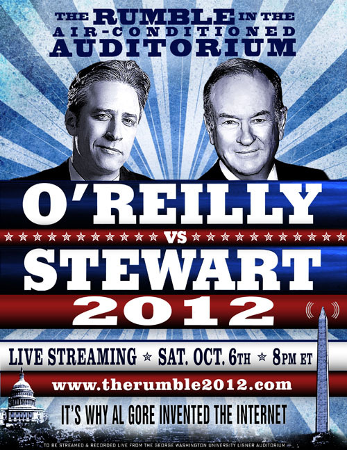 Stewart. O'Reilly. Two podiums. One air-conditioned auditorium. It's The #Rumble2012. Streaming live tonight at 8 pm EST. http://bit.ly/QklROG