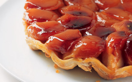 Tarte Tatin  Though not much good can come of a burned custard, Stephanie Tatin proved more than 100 years ago that not all culinary accidents need be irreversible disasters. Having forgotten the crust in an already-baking apple pie tart, she hastily placed a round of pastry on top of the pan in the oven. Once the crust was golden, she flipped the pan over, serving her upside-down tart as the now famous tarte Tatin.  full recipe here