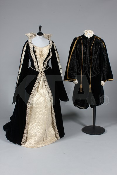 """Mary, Queen of Scots"" and ""Lord Darnley"" fancy dress by Russell & Allen of Old Bond Street, ca 1900 London Click to go to the absentee bidding page.  This Kerry Taylor auction will end October 16th at 10:30 AM GMT (5:30 AM EST).  You will need to register to bid ahead of time."