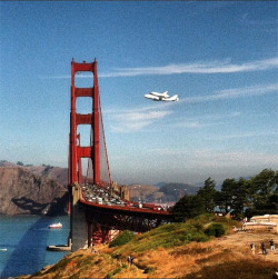 Historic fly over of the Golden Gate Bridge by Space Shuttle Endeavor on its way south to LA.