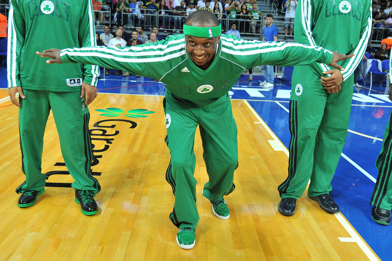 via nba:  Jason Terry #4 of the Boston Celtics gets introduced prior to the game against the Fenerbahce Ulker on October 5, 2012 at the Ulker Sports Arena in Istanbul, Turkey. (Photo by Brian Babineau/NBAE via Getty Images)  The Morris Day of basketball.