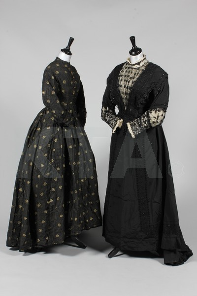 (Left) Silk dress, ca 1865 (Right) Mourning dress on which little information is given, ca 1907-08? (my guess) Click to go to the absentee bidding page.  This Kerry Taylor auction will end October 16th at 10:30 AM GMT (5:30 AM EST).  You will need to register to bid ahead of time.