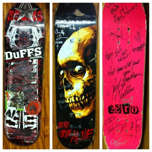My three most prized #skateboards. Left: Six Gun deck ridden by and signed to me by Jason Adams. Middle: Zero deck ridden by Jamie Thomas @jamiethomas and signed by the Zero team (Jamie Thomas, John Rattray, John Allie, Lindsey Robertson, Ryan Bobier, Garret Hill). Right: Deck signed to me by RODNEY MULLEN, Tony Hawk, Mike Vallely, Kerry Getz, Alex Chalmers, and Jamie Thomas. #zero #jasonadams #rodneymullen #tonyhawk #skateboarding #skateboard  (Taken with Instagram)
