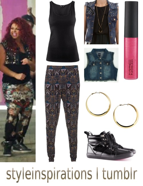 "requested by lovelyedithx: Little Mix, ""Wings"" - Part 7: Jesy Nelson (2) top - h&m pants - jades 24 (alternative) vest 1; vest 2 - I wasn't happy with either of the alternatives so I posted them both - sorry, that I couldn't find anything better :( lip gloss - douglas earrings - h&m shoes - h&m"