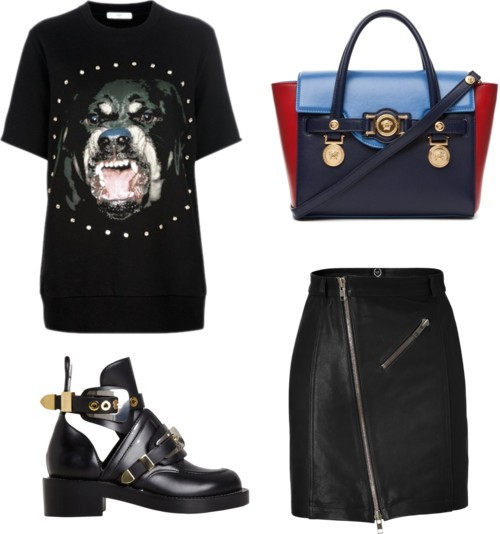 Beware of the dog! by julianajace featuring a black pencil skirtGivenchy  shirt / McQ by Alexander McQueen black pencil skirt / Balenciaga buckle boots / Versace cross body handbag
