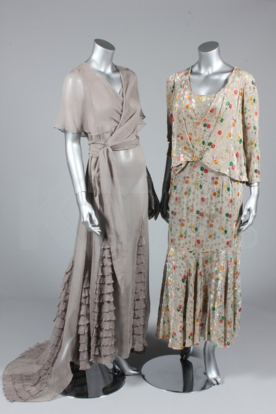 (Left) Evening dress, 1930's - Bust is 102cm/40in, about a size 20 UK/16 US. (Right) Dress, early 1930's The lot contains several other dresses from the 1920's-30's and two coats. Click to go to the absentee bidding page.  This Kerry Taylor auction will end October 16th at 10:30 AM GMT (5:30 AM EST).  You will need to register to bid ahead of time.