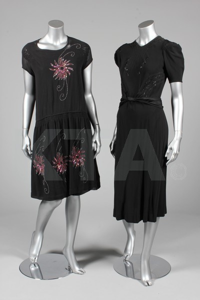 (Left) Evening dress, ca 1928 (Right) Dress, 1940's The lot contains ten dresses, coats and jackets from the 1920's-40's. Click to go to the absentee bidding page.  This Kerry Taylor auction will end October 16th at 10:30 AM GMT (5:30 AM EST).  You will need to register to bid ahead of time.