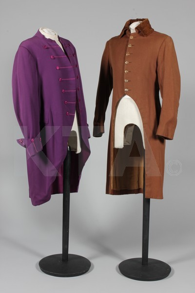 Male servants' liveries, 20th century (two of the black tailcoats are dated 1928 and 1938) Click to go to the absentee bidding page.  This Kerry Taylor auction will end October 16th at 10:30 AM GMT (5:30 AM EST).  You will need to register to bid ahead of time.