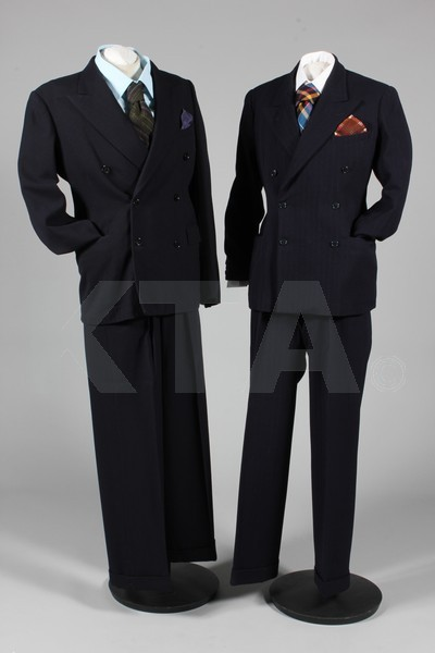 "Men's suits, coats and accessories, 1940's The chest of one measures 38"", the other 42"" (unsure of which). Click to go to the absentee bidding page.  This Kerry Taylor auction will end October 16th at 10:30 AM GMT (5:30 AM EST).  You will need to register to bid ahead of time."