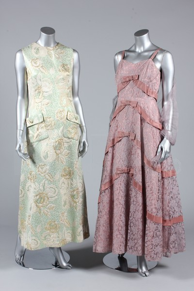 (Left) Dress, 1960's (Right) Prom dress, 1950's The lot also contains a mid-1950's evening dress by Thea Porter, a black prom dress from the 1950's and two evening coats. Click to go to the absentee bidding page.  This Kerry Taylor auction will end October 16th at 10:30 AM GMT (5:30 AM EST).  You will need to register to bid ahead of time.
