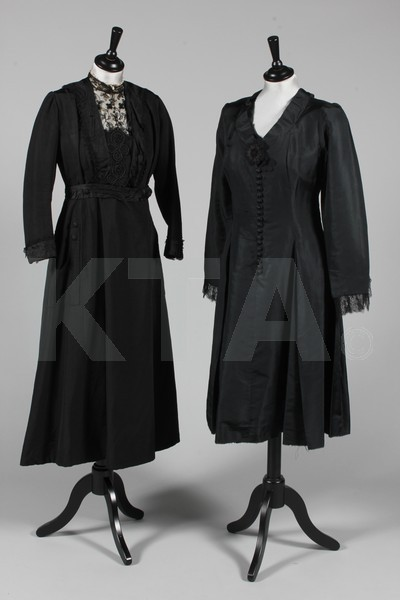 Lot containing mainly black clothing dating from 1900, including a good cutwork and embroidered felted wool jacket; beaded capelet, two dresses, plush jacket with frogging (ca 1880's) and two bonnets (1890's) Click to go to the absentee bidding page.  This Kerry Taylor auction will end October 16th at 10:30 AM GMT (5:30 AM EST).  You will need to register to bid ahead of time.
