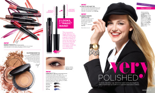 1. Make It Rich Lip Color Crayon $11 2. Glowdacious Illuminating Powder $13 3. Lash Act Build and Define Mascara $12  4. Cap It Off Hat $22 5. Great Timing Watch $40 6. Glamorous Life Bracelet $24