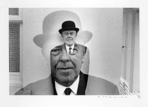 Rene Magritte in Bowler Hat, 1965, by Duane Michals