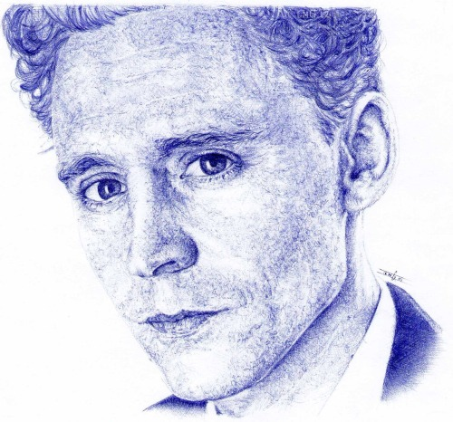 Tom Hiddleston Tool: 100% Ballpoint pen. by Laura Modamio