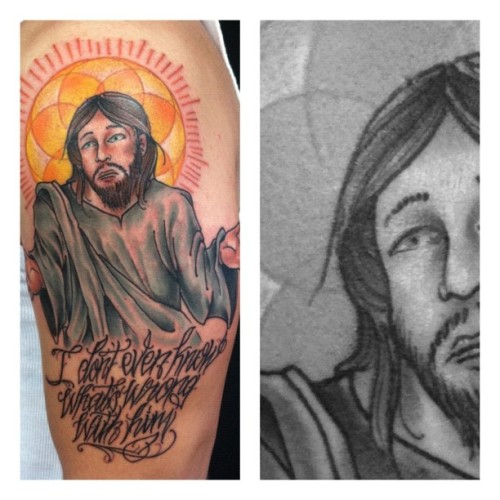 Did this awesome jesus piece today. Gonna add to it in a few weeks. #tattoo #jesuspiece #jesus #mikedecay #richmondsttattoo #richmondstreettattoo #providence #rhodeisland #ermahgerd #ohemgee (Taken with Instagram)