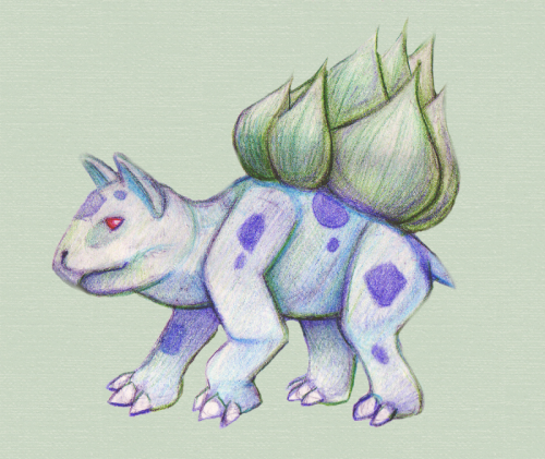 Bulbasaur. Just experimenting with some colored pencils.