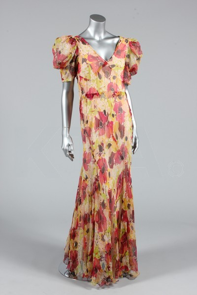 Garden party dress, 1930-35 Bust is 86-92cm/34-36in, about a size 8-12 UK/4-8 US. Click to go to the absentee bidding page.  This Kerry Taylor auction will end October 16th at 10:30 AM GMT (5:30 AM EST).  You will need to register to bid ahead of time.