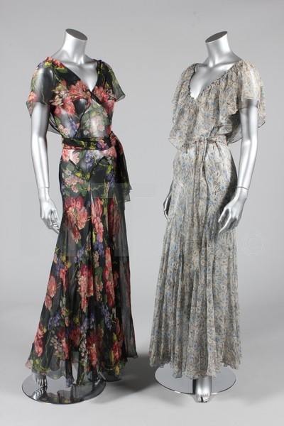 Lot of six evening dresses, 1930's Click to go to the absentee bidding page.  This Kerry Taylor auction will end October 16th at 10:30 AM GMT (5:30 AM EST).  You will need to register to bid ahead of time.