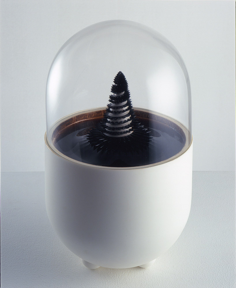 "Ferrofluid Art Sachiko Kodama, a Japanese physicist and artist worked on a ferrofluid art project that she named ""Protrude, Flow"". The dynamic movement of liquids is the theme of this project. A ferrofluid is a liquid which becomes strongly magnetized in the presence of a magnetic field."