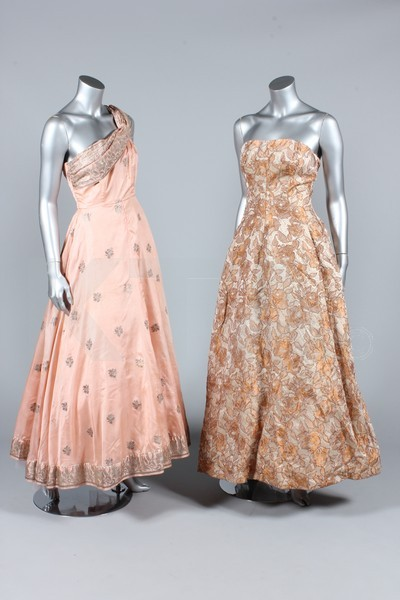 Ballgowns, 1950's The lot is the contents of an attic trunk, including four 1930s velvet and satin evening gowns, peasant-style embroidered blouses, two 1950s ballgowns, assorted gloves, petticoats, etc. Click to go to the absentee bidding page.  This Kerry Taylor auction will end October 16th at 10:30 AM GMT (5:30 AM EST).  You will need to register to bid ahead of time.