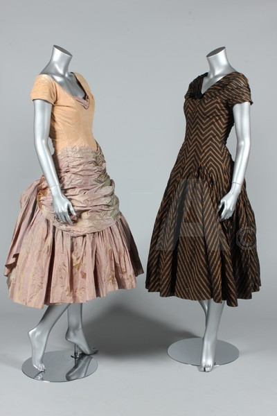 Ballgowns by Digby Morton, 1950-55 (Measurements are given en masse) Busts are 86cm/34in, waists are 56-61cm/22-24in, about a size 8 UK/4 US with a very small waist. The lot includes an evening coat and day suit, also by Digby Morton. Click to go to the absentee bidding page.  This Kerry Taylor auction will end October 16th at 10:30 AM GMT (5:30 AM EST).  You will need to register to bid ahead of time.