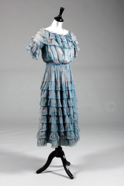 Girl's dress by Jeanne Lanvin, ca 1916 France Click to go to the absentee bidding page.  This Kerry Taylor auction will end October 16th at 10:30 AM GMT (5:30 AM EST).  You will need to register to bid ahead of time.